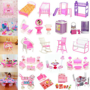 Image Is Loading Dollhouse Miniature Furniture Accessories For Barbie Bathroom Living
