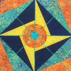 Sparkling-Bulls-Eye-Art-Quilt-15-034-Sq-Abstract-Art-Piece-Yellow-Blue-Orange