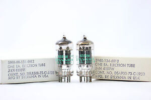 2-X-JAN-6189W-TUBE-SYLVANIA-BRAND-MATCHED-PAIR-1970-S-NOS-NIB-CRYOTREATED-V16