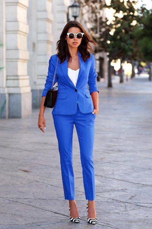Blåa blazer set for kvinnor Stripe Long Slieve Pant Suits Office Button Formalt nytt