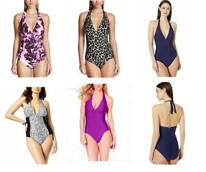 NEW-Calvin-Klein-Womens-Side-Pleated-Halter-One-Piece-Swimsuit-VARIETY
