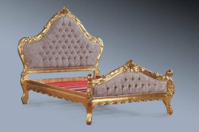 Luxury Grand Mahogany Rococo Gilt Gold Leaf Ornate Boudoir French King Size Bed