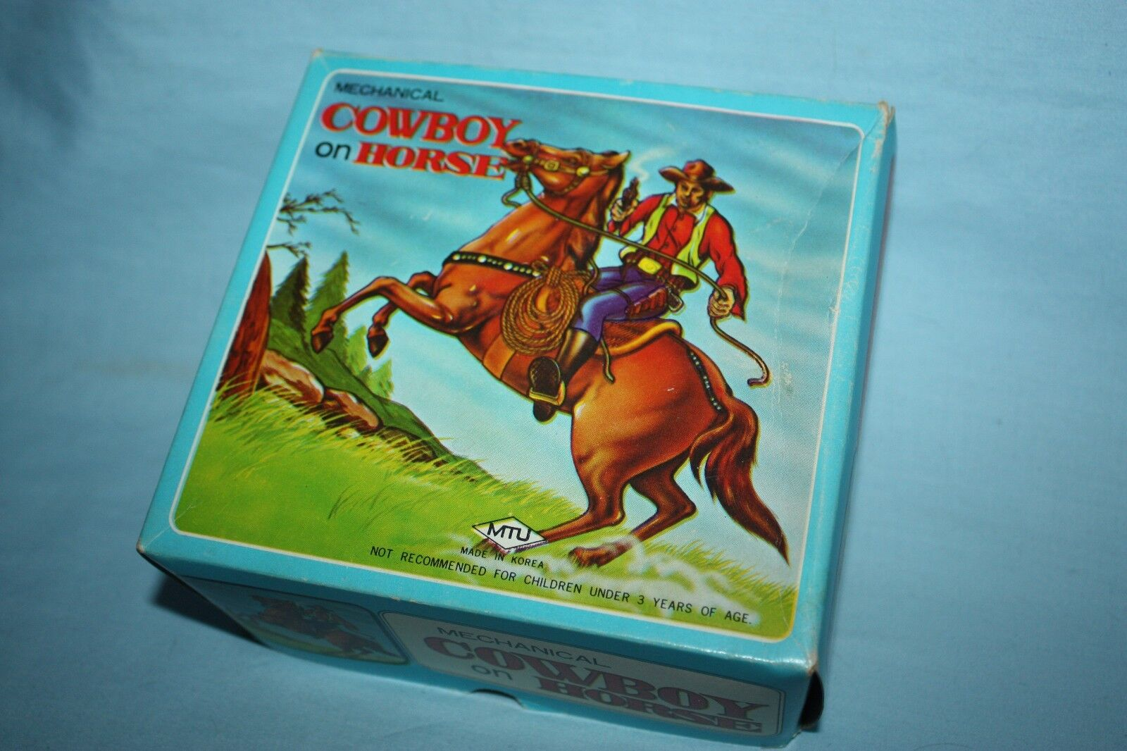 Vintage Mecánico Cuerda vaquero a caballo en caja hecha en Corea por MTU