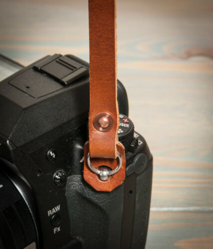 40in cobre de cuero hecho a mano con correa de cámara Remachada Movible hombrera.