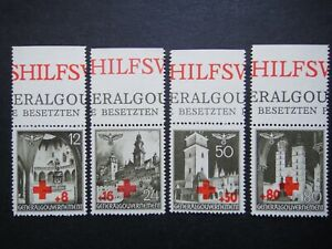 Germany Nazi 1940 Stamp MNG Red Cross Swastika Eagle Generalgouvernement WWII T
