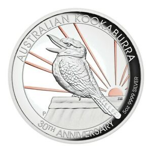 30th Anniversary Australian Kookaburra 2020 5oz Silver Proof High Relief Gilded