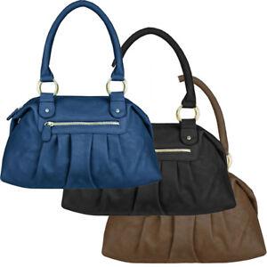 db9a2f55232421 Das Bild wird geladen Nicole-Brown-Damen-Henkeltasche-Handtasche-Tasche -Lederlook-Schwarz-