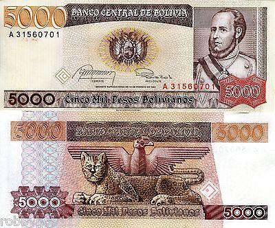 BOLIVIA 5000 Bolivianos Banknote p168 UNC