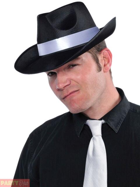 67ff74e7d52 Adults 20s Black Fedora Hat Fancy Dress 1920s Costume Cool Gangster ...
