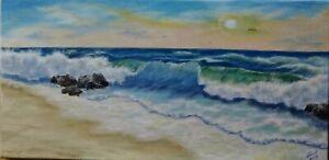 Art-original-oil-hand-painting10-034-20-034-ocean-sunset-varnished-seascap-landscape