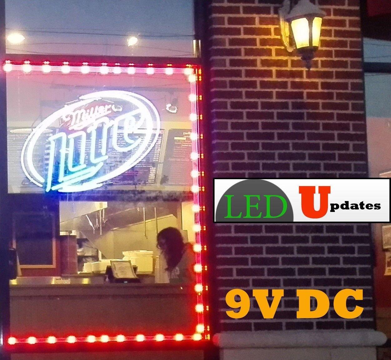 9V rot Storefront LED LIGHT retail Bar Counter 40ft + UL Listed 9v 45W Power