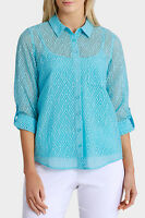 Regatta Petites Essential Solid Burnout 3/4 Sleeve Shirt Sunset/aquamarine