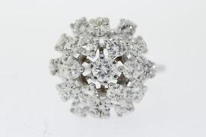14k-Oro-Blanco-3-20ct-Redondo-Racimo-de-Diamantes-Anillo-Coctel-F-VS2-Size-10