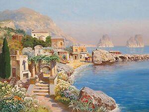 Quadro falso d 39 autore arnegger alois paesaggio mare veduta for Quadri dipinti a mano paesaggi