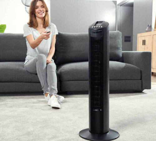 SLIM-ONE VENTILATORE A COLONNA DICTROLUX 45W NERO CON TELECOMANDO