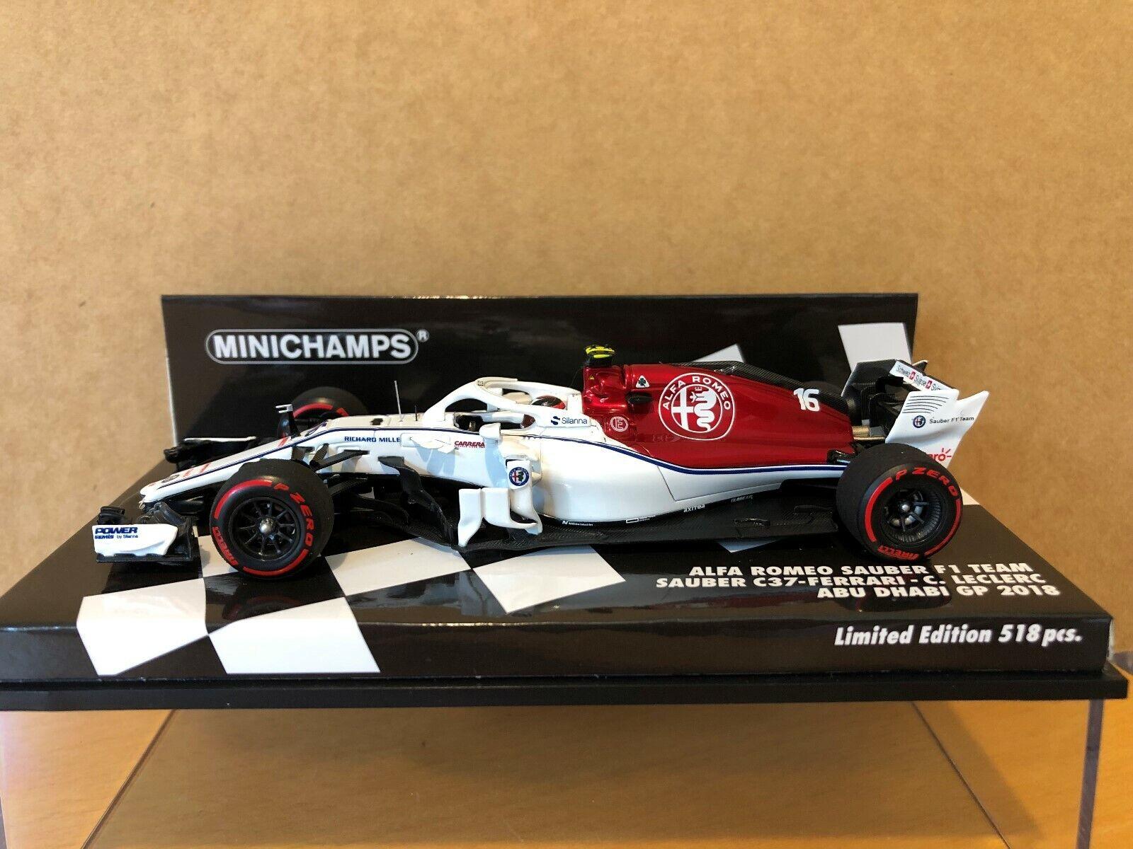 Minichamps 1 43 Charles Leclerc Sauber C37 Abu Dhabi GP F1 2018 NEW 417182116