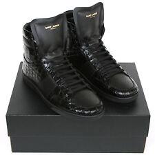 SAINT LAURENT croc embossed leather hi-tops crocodile sneakers shoes 39/6 NEW