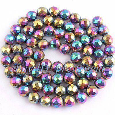 """4MM ROUND FACETED HEMATITE GEMSTONE FOR JEWELRY MAKING SPACER BEADS STRAND 15"""""""