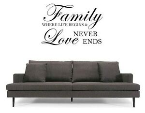 """FAMILY FOREVER FOR ALWAYS Words Vinyl Wall Decal Lettering Sticky Quote 24/"""""""
