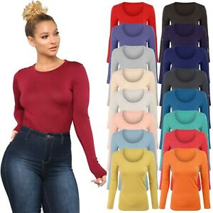 Womens-Long-Sleeve-Stretch-Plain-Round-Scoop-Neck-T-Shirt-Top-Ladies-Fitted-Tee