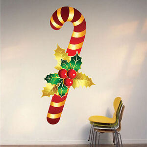 Candy Cane Wall Decal Winter Sweet Decor Clings Christmas Party Decorations H52 Ebay
