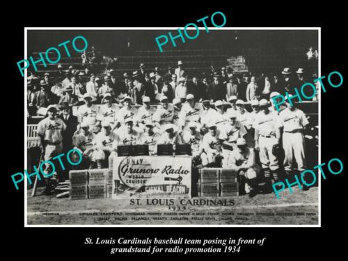 OLD LARGE HISTORIC PHOTO OF St LOUIS CARDINALS BASEBALL M, 1934 RADIO PRMO