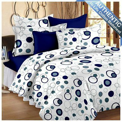 Hi-Life Premium Ahmedabad Cotton Double Bedsheet with 2 Pillow Covers - Royal