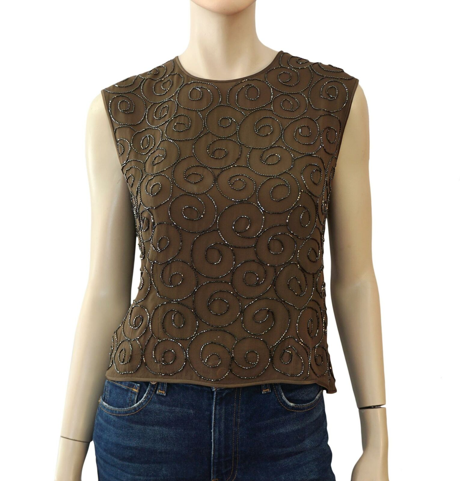 ESCADA Beaded braun Silk Sleeveless Blouse Top 38 US 6