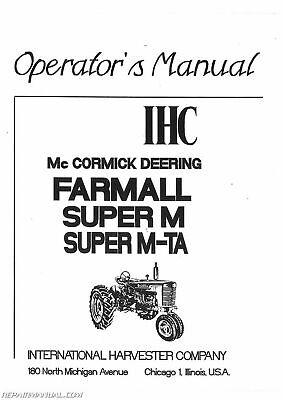 International Harvester Farmall Super MTA MVTA Operators Manual   eBayeBay