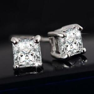 Luxury-Women-amp-Men-Solid-Diamond-Crystal-Square-Ear-Stud-Earrings-Beauty