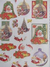 3D Paper Tole Card Making Embossed Christmas Santa Sleigh Tree 3 Pictures