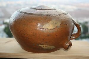 Antique-Pottery-Terracotta-Vessel-Jar-Flask-Unusual-Gorgeous-Ancient-Heavy-Rare