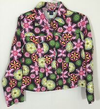 Candy Couture Womens Shirt Pink Floral Blazer Jacket Sz Extra Large XL Sequins