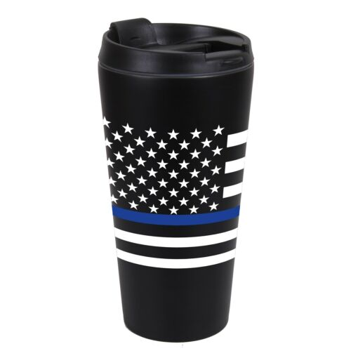 Thin Blue Line Flag Travel Mug 16oz Support Law Enforcement Rothco 1299