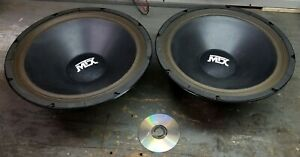 Pair-of-rare-old-school-15-034-MTX-PLY-15-car-audio-subs-54oz-square-magnet-WOW