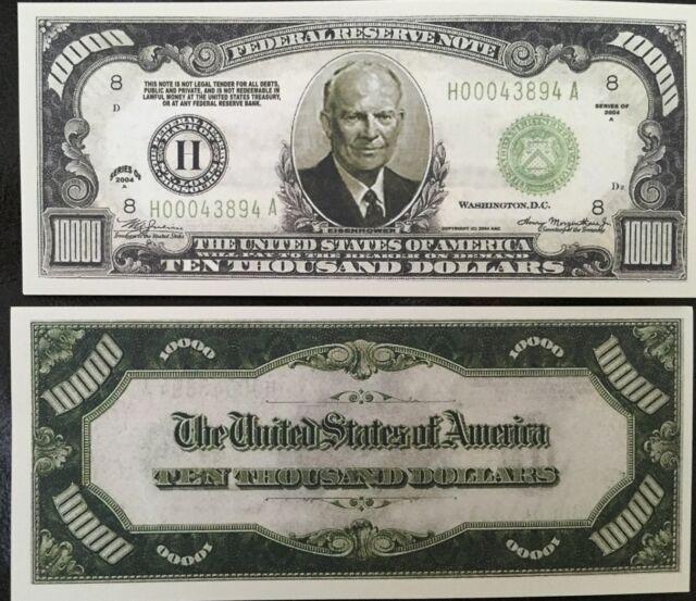"10x $10000 Ten Thousand Dollar ""authentic"" Fun Play Money Gift Bill Novelty Gag"