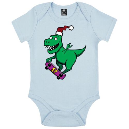 Skateboard noël dinosaure bébé fille festif noël babygrow combi