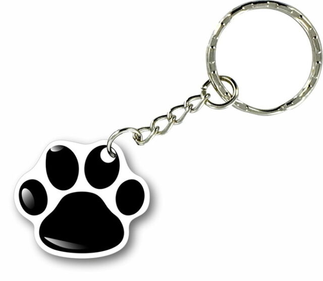 Keychain key ring keyring car motorcycle home biker paw dog cat wolf print