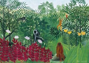 H-Rousseau-Tropical-Forest-Huge-A1-size-Canvas-Art-Print-Poster-Unframed