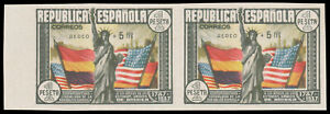 Spain-C97a-MNH-Imperf-Pair-CV-1100-00-1938-5p-1p-STATUE-OF-LIBERTY-Cert