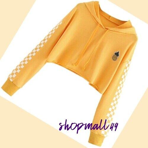 Girls Top Hoodie Cropped Autumn Long Sleeve Hooded Sweatshirt Age 11-16 years
