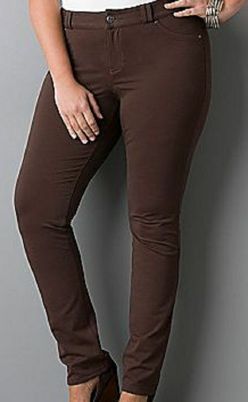 LANE BRYANT Java Brown jean style knit pant jegging 20 Petite - sharp sexy comfy