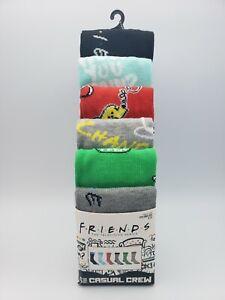 Friends TV Show Series Mens Crew Socks 6 Pair Fits Shoe Size 8-12 Central Perk