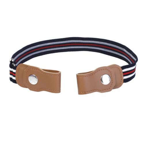 Kids Elastic Belts Stripe Waist Belts Band Invisible No Buckle Bulge Hassle