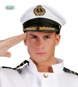 fd2fe171ba0 Image is loading Mens-White-Captain-Hat-Cap-Naval-Officer-Adults-