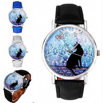 Romantic Night & Cat Womens Girls Vogue Watches Faux Leather Quartz Watch часы