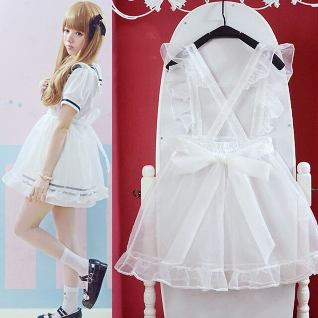 All-Match Kawaii Maid Transparent Organza Overskirt Apron Dress Lolita Tunic