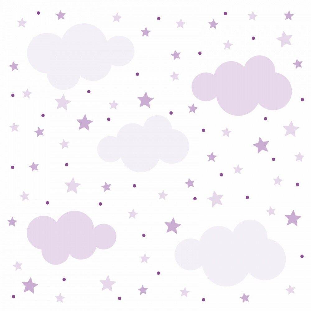 141 Muro Tatuaggio nuvole, stelle e punti Set Viola Lillà-stanza dei bambini decorazione