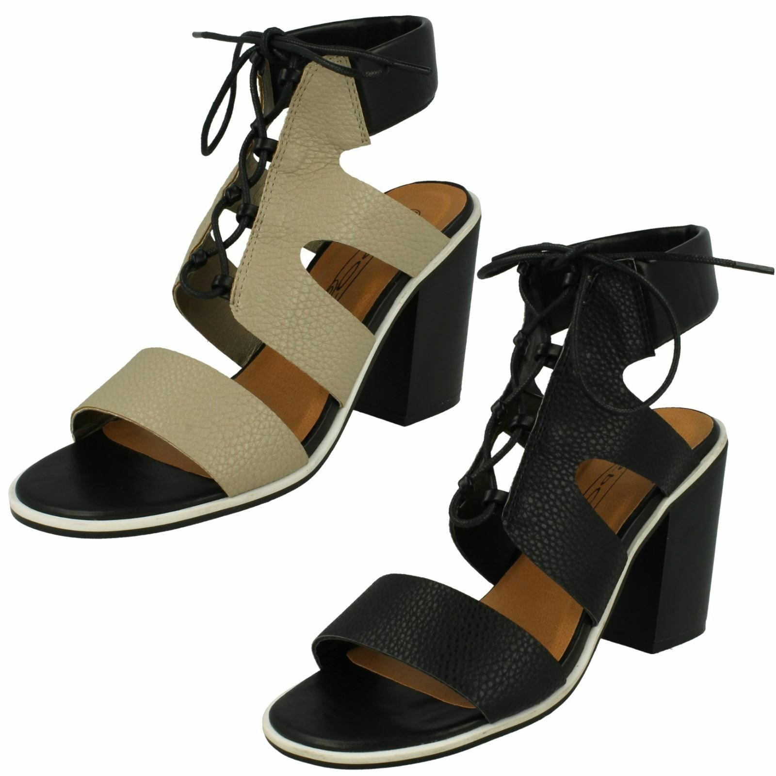 Ladies Spot On Ankle Cushion Block Heel 'Sandals'
