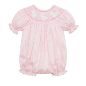 38099b8ea Pink Easter Bunny Smocked Romper NEW * bubble girl boutique* | eBay